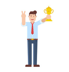 Successful man holding trophy cup vector