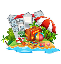 summer theme with beach and hotel vector image