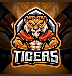 tigers man esport mascot logo design vector image