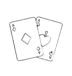 two aces playing cards poker casino icon vector image