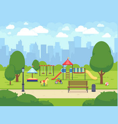 Urban summer public garden with kids playground vector