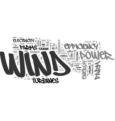 Wind farm efficiency text word cloud concept vector