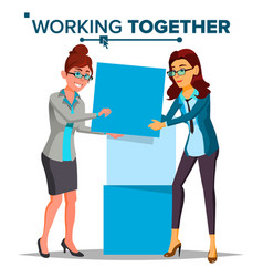 working together concept business woman vector image