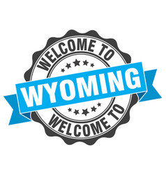 Wyoming round ribbon seal vector
