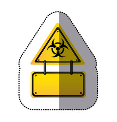 yellow metal biohazard warning notice sign icon vector image