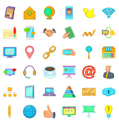 Big company icons set cartoon style vector