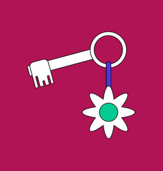Flat icon design collection key and key fob vector