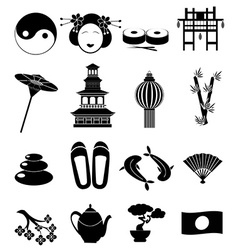 Japan icons set vector image vector image