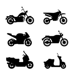motorcycles and scooters black silhouettes vector image