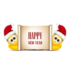 New year card design template Two funny chicken vector image vector image