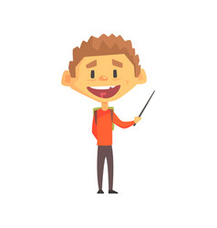smiling boy with pointer primary school kid vector image vector image