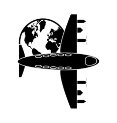 airplane and earth globe icon vector image