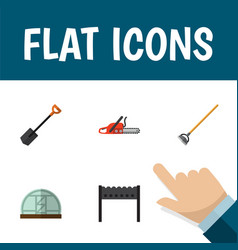 Flat icon farm set of tool barbecue hothouse and vector
