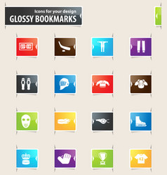 hockey bookmark icons vector image