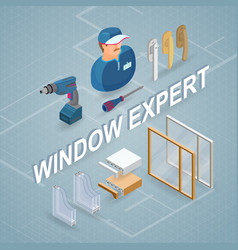 Window installing service isometric concept vector