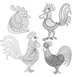Zentangle Cartoon rooster cock set Hand drawn vector image vector image