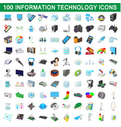 100 information technology icons set vector image