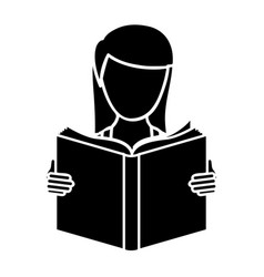 black woman to read a book icon vector image