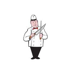 Butcher Sharpening Knife Cartoon vector image vector image
