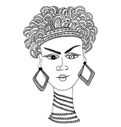 hand draw woman in african style vector image