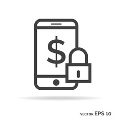 lock mobile money outline icon black color vector image vector image