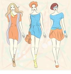 beautiful fashion girls top models vector image