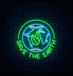 Glowing neon sign of world earth day with leaves vector