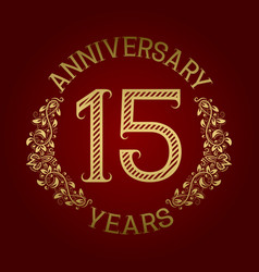 golden emblem of fifteenth anniversary vector image