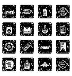Label black friday icons set grunge style vector