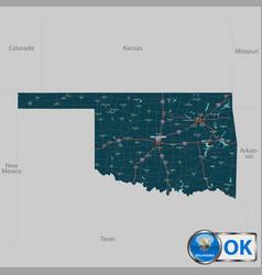 Map of state oklahoma usa vector