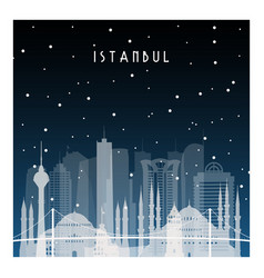 winter night in istanbul night city in flat style vector image