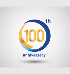 100 anniversary design with blue and golden vector