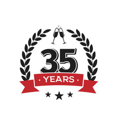 35 th birthday vintage logo template thirty five vector