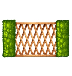 A fence with plants vector