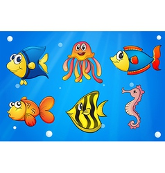 A sea with colorful creatures vector