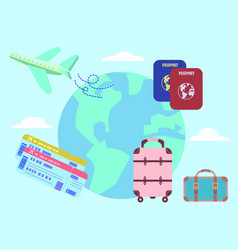 Air travel luggage airplane passport set vector