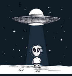 Arrival of an alien from ufo vector