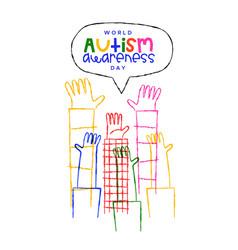 Autism awareness day kid hand cartoon card vector