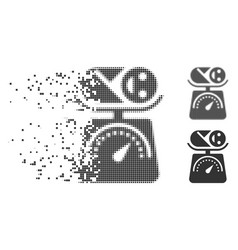 Baby weight fractured pixel halftone icon vector