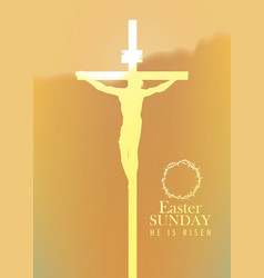 banner with jesus christ crucified on cross vector image