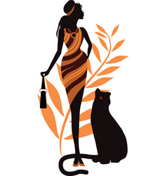 beautiful girl with a panther fashion woman vector image