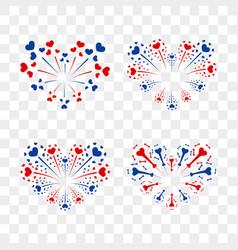 beautiful heart-fireworks set romantic salute vector image