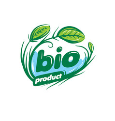 Bio sign in the form of leaves and grass vector