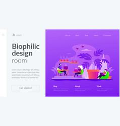 Biophilic design in workspace landing page vector