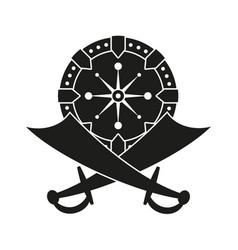 Black and white scimitar shield vector