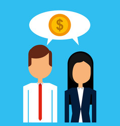 business man and woman with speech bubble dollar vector image