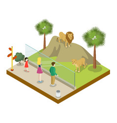 cage with lions isometric 3d icon vector image
