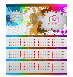 Calendar of 2018 year with colorful puzzle pieces vector