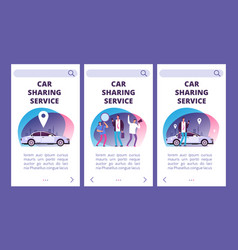 car sharing service mobile app pages vector image