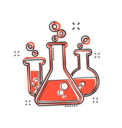 cartoon chemical test tube icon in comic style vector image